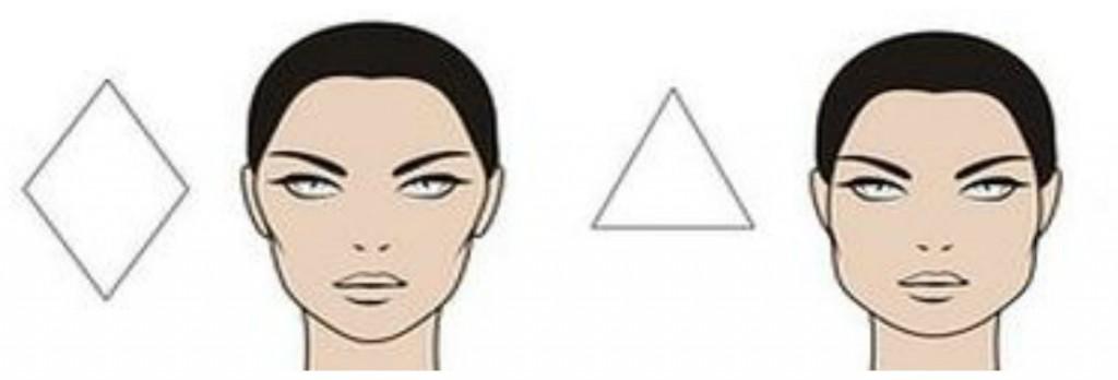 форма лица ромб и перевернутый треуголтник