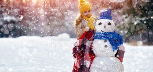 winter girl snowman zima