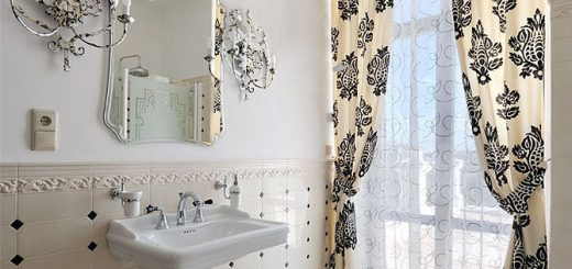 Шторы в дизайне ванной комнаты.